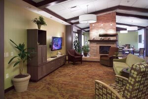 An indoor lounge area at an assisted living facility.
