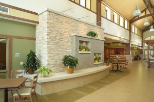 A common area at an assisted living facility.