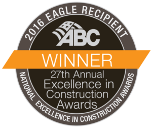 "Winner logo for the ABC Awards that reads, ""2016 Eagle Recipient, 27th Annual Excellence in Construction Awards"""