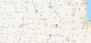 Map with pins on Waterloo, Davenport, and Burlington.
