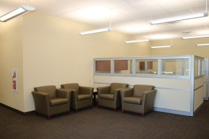Inside waiting area of a bank.