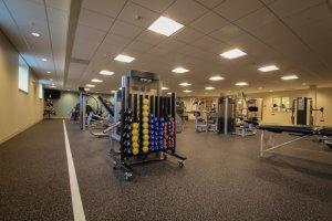 Gym equipment at a living facility.