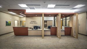 Family practice reception area at RiverHills.