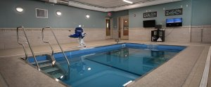 A swimming pool at an assisted living facility.
