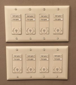 Light switch panel at sacred heart.