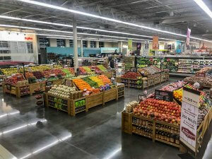 The produce section of a grocery store.