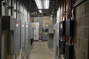 Electrical panels mounted on opposite walls.