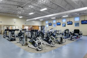 Workout equipment inside a new gym.