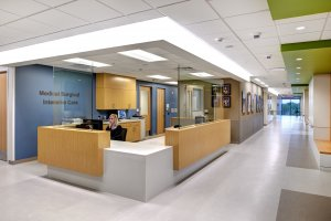 The hallway and reception area of medical surgical intensive care unit.