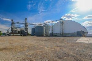 A shot of rural industrial buildings.